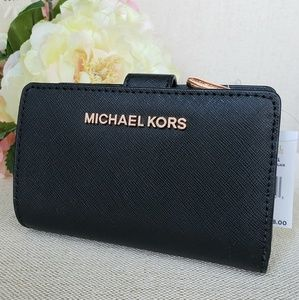 Michael Kors Bags - NWT Michael Kors Bifold Zip Coin Wallet Black Rose